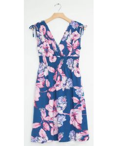 Plus Floral Tie Shoulder Midi Dress - Steel Blue