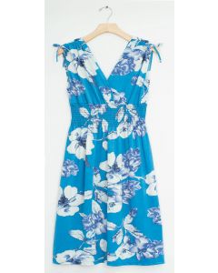 Plus Floral Tie Shoulder Midi Dress - Aqua