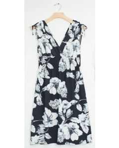 Plus Floral Tie Shoulder Midi Dress - Black
