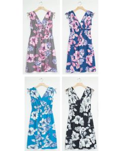 Plus Floral Tie Shoulder Midi Dress - Assorted
