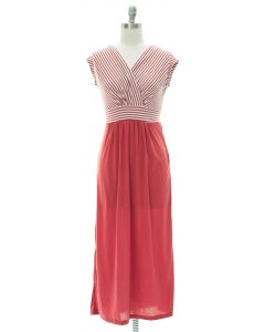 Colorblock Stripe Maxi Dress - Marsala