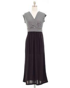 Colorblock Stripe Maxi Dress - Black