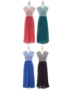 Colorblock Stripe Maxi Dress - Assorted