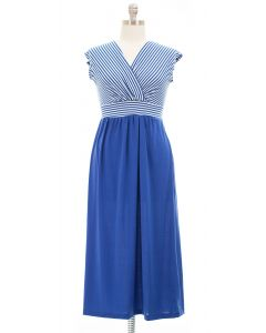 Plus Surplice Tie Back Maxi Dress - Blue