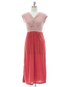 Plus Colorblock Stripe Maxi Dress - Marsala
