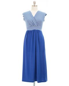 Plus Colorblock Stripe Maxi Dress - Blue