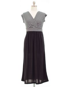 Plus Colorblock Stripe Maxi Dress - Black