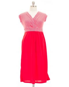 Plus. Maxi Striped Dress - Red