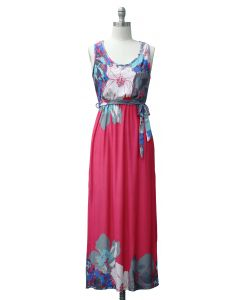 Self Ties Maxi Dress - Hot Pink