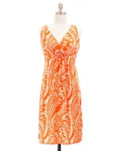 Paisley Surplice Dress - Orange/Cream