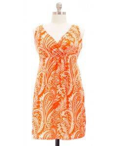 Plus. Paisley Surplice Dress - Orange/Cream