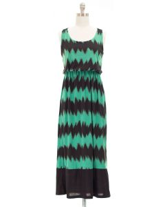 Maxi Chevron X Back Dress - Green