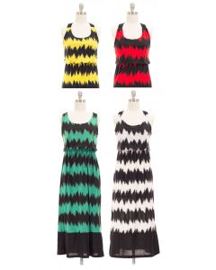 Maxi Chevron X Back Dress - Asst