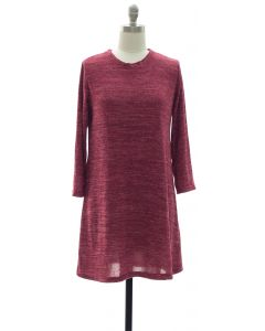 Hacci Shift Dress - Oxblood