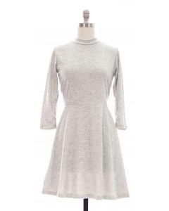 3/4 Sleeve Hacci Flare Dress - Grey
