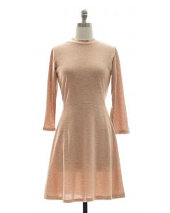 3/4 Sleeve Hacci Flare Dress - Blush