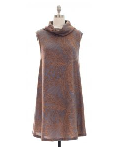 Cowl Neck Printed Sleeveless Dress - Taupe