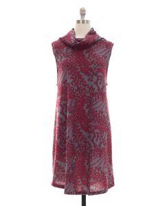Cowl Neck Printed Sleeveless Dress - Burgundy