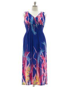 Plus Size Surplice Maxi Dress with Cinch - Blue