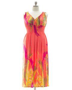 Plus Size Surplice Maxi Dress with Cinch - Coral