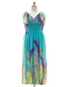Plus Size Surplice Maxi Dress with Cinch - Teal