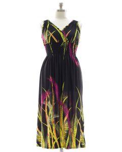 Plus Size Surplice Maxi Dress with Cinch - Black