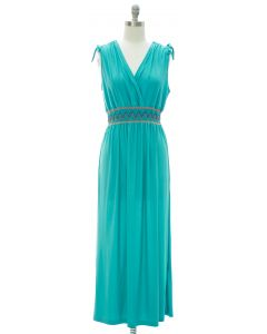 Fiesta Double V Surplice Maxi Dress - Turquoise