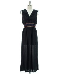 Fiesta Double V Surplice Maxi Dress - Black