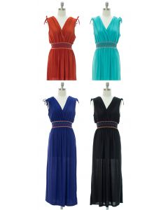 Fiesta Double V Surplice Maxi Dress - Assorted