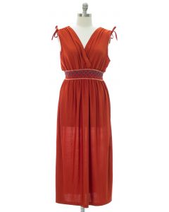 Plus Fiesta Double V Surplice Maxi Dress - Rust