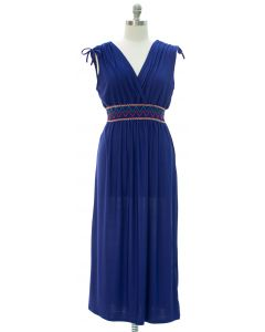 Plus Fiesta Double V Surplice Maxi Dress - Blue