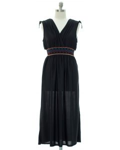 Plus Fiesta Double V Surplice Maxi Dress - Black