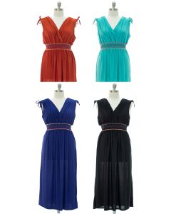 Plus Fiesta Double V Surplice Maxi Dress - Assorted