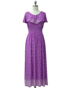 Peasant Top Maxi Dress - Purple