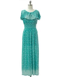 Peasant Top Maxi Dress - Turquoise