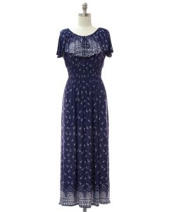 Peasant Top Maxi Dress - Navy