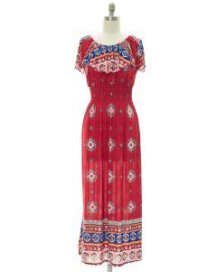 Printed Peasant Maxi Dress - Red