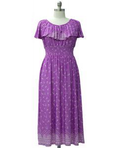 Plus Peasant Top Maxi Dress - Purple