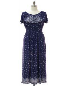 Plus Peasant Top Maxi Dress - Navy