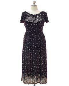 Plus Peasant Top Maxi Dress - Black
