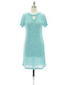 Keyhole Front Hacci Midi Dress - Turquoise
