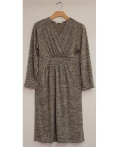 3/4 Sleeve Hacci Surplice Dress - Taupe