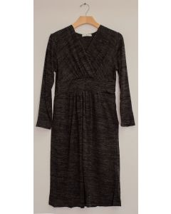 3/4 Sleeve Hacci Surplice Dress - Black