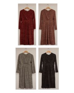 3/4 Sleeve Hacci Surplice Dress - Assorted