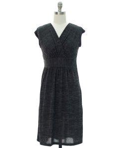 Surplice Hacci Midi Dress - Black