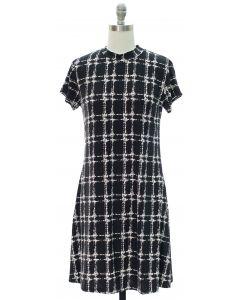 Half Collar Shift Midi Dress - Black
