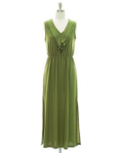 Ruffle Front Maxi Dress - Olive