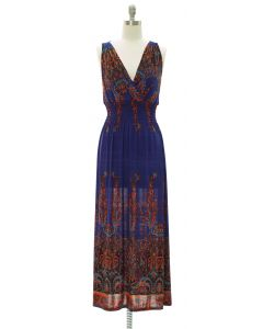 Crochet Back Smock Maxi Dress - Blue