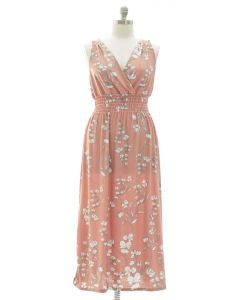 Plus Crochet Back Floral Maxi - Pink