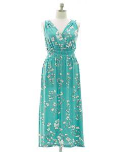 Plus Crochet Back Floral Maxi - Turquoise